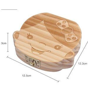 الإنجليزية سن المربع للطفل حفظ حليب الأسنان بنين بنات صورة صناديق تخزين الخشب هدية الإبداعية للأطفال السفر كيت EEF4317