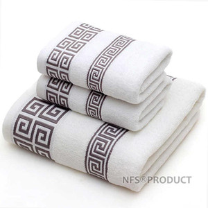 Geometric Pattern Bath Towel For Bathroom 100% Cotton Towels Set Terry Towel Hand Face Washcloth Travel Beach Sport Towels