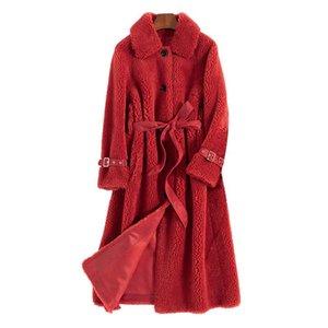 Abrigo de piel Femenino Real Vintage Vintage Sheighting Chaqueta Mujeres Otoño Ropa de invierno 2020 Coreano Elegante Larga Lana Piel Tops HIVE 2901