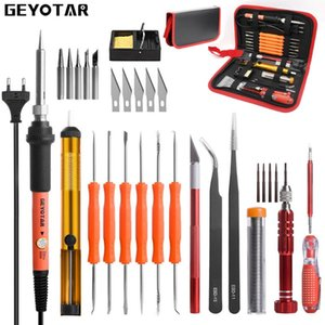 GEYOTAR EU-Stecker 220V 60W elektrische Lötkolben Kit Schraubendreher Pinzette Zinndraht Entlötpumpe Messer Schweißen Reparatur-Werkzeuge