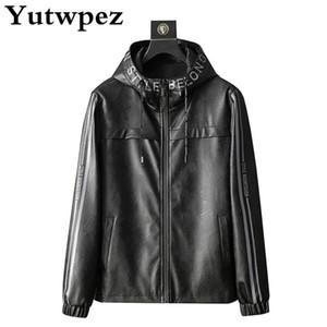 PU Leather Jacket Men Coats Fleece 4XL Hooded Collar Motorcycle Jacket Male jaqueta Winter Faux Fur Mens Business Outerwear 2020