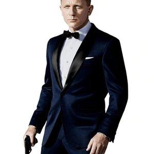 На заказ темно-синий костюм, вдохновленный изношенным в Джеймс Бонд Свадебный костюм для мужчин Groomsman Tuxedos Groom Свадебные костюмы 201105
