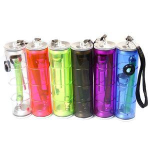 2020 Colorful hookah shisha Pipe Water pipes Aluminium Alloy Acrylic Metal Pipe Portable smoking accessories wholesale 185mm length