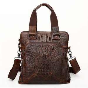 Crocodile Genuine Leather Handbags Vintage Male Messenger Men Vertical Shoulder Bag Business Travel Briefcases Q1129