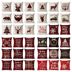 Christmas Pillow Truck Xmas Tree Holding Pillow Cover Linen Cartoon Cushion Covers Retro Plaid Pillow Cases Decoratio Pillowcase RRF2507