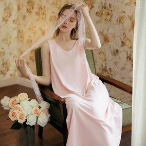 Wasteheart Kadınlar Moda Pembe Pamuk Seksi Pijama Gecelik Spagetti Kayışı Gecelikler Sleepshirt Nightgown Pijama Gecesi1