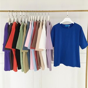 15 Solid Color Cotton T shirt Women S XL Harajuku White Womens T shirt Femme O Neck Korean Summer Top Basic Tshirt