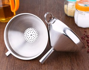 4 Inch 304 Stainless Steel Funnel With Detachable Strainers Kitchen Tools Funnels Stainless Steel Wine Oil Funnel SEA SHIPPING CCA12626
