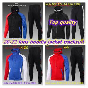 최고 품질 2020 2021 파리 레알 마드리드 ISCO 키즈 긴 지퍼 까마귀 자켓 Tracksuit 20 21 UTD MBappe Pogba Kids Hoodie Jacket Tracksuit
