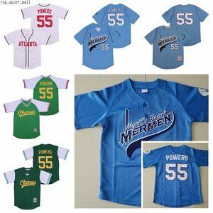 Eastbound e para baixo Atlanta 55 Kenny Powers Baseball Jersey Homens Moive Cool Base Pulôver Toda Azul Verde Azul Time Branco Alto como