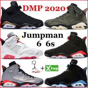 رجل 6S 6 أحذية كرة السلة Jumpman DMP 2020 هير أسود الأشعة تحت الحمراء ترافيس سكوتس أسود القط باريس تعكس الفضة UNC تشغيل أحذية رياضية المدرب