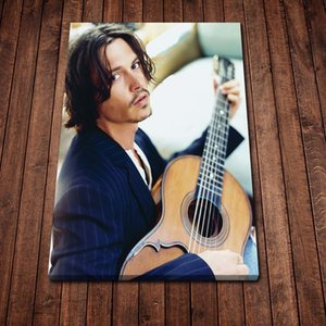 Modern Canvas Painting Abstract Johnny Depp Playing Guitar Posters Prints Wall Art Picture for Living Room Home