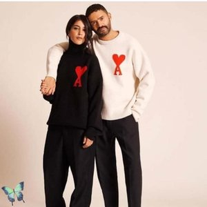 AMI Turtelneck Maglione Abbigliamento Donna Uomo di alta qualità maglia cachi Maglioni
