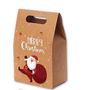 Presente de Natal Bags Xmas Vintage Kraft Papel Maçãs Caso Doces Presite Saco De Presente de Mão Pacote De Pacote Decoração Favor Favor Fornecimento GWA2858