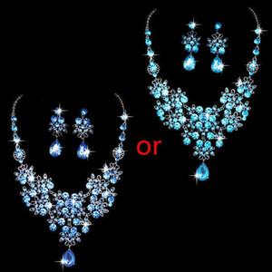 Alloy Rhinestone Earrings Pendant Necklace Bridal Set