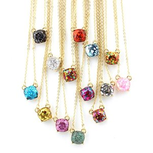Mini Small Sequins Glitter Square Stone Choker Necklace for Women Dainty Gold Boxed Colorful Pendant Short Chain Chockers Necklaces Jewelry