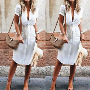 Elegant Short Sleeve Shirt Dress 2019 Summer Solid Single breasted Beach Dresses Women Casual Adjusted Waist Mini Party Vestido