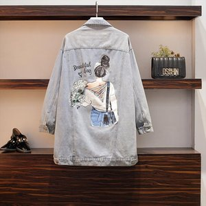 Women Coat plus size jacket 2019 Winter New Large Size Womens Wear Korean Version Loose Cartoon Printed Long Jeans Coat