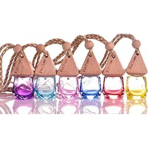 6ml diamond glass perfume bottle pendant car hanging perfume bottles air freshener carrier essential oil hang rope bottle with cap