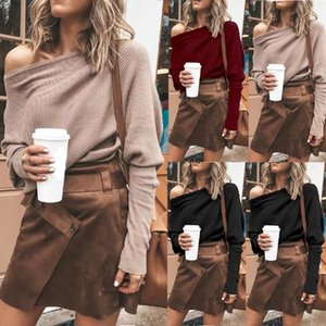 Cotton Blend Long Sleeve Loose Sexy Soft Women Sweater Tops Solid Pullover Casual Autumn One Shoulder Breathable Gift