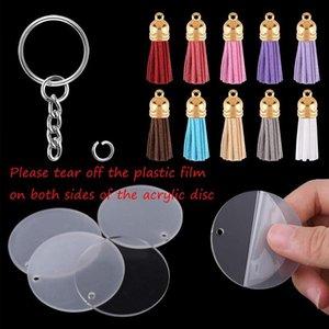 DIY Wildleder Tassel Schlüsselanhänger Acryl transparente Kreisscheiben klar Acryl Keychain-Leerzeichen Quaste Anhänger und Schlüsselring Set 90pcs / lot AHA2553
