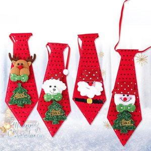 Party DIY Decoration Favorite New Year Christmas Bandage Sequin Gifts For Kids Santa Claus Snowman Elk Pattern Bow Tie