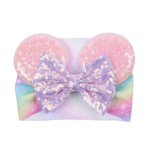 Big Bow Wide Haidband Cute Baby Girls Accessori per capelli Sequined Mouse Ear Girl Fascia Nuova Design Holidays Trucco Costume Band HWD4943