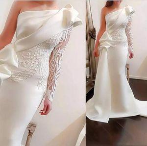 Настоящие фото одним на плечо русалка длинные вечеринки платья выпускного вечера 2020 с длинными рукавами атласные рухнутые оборками аппликация развертки поезд формальное вечернее платье