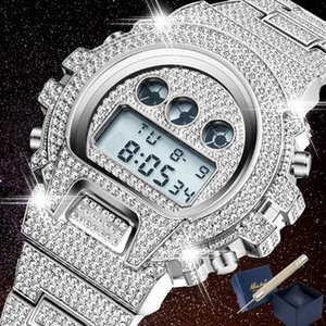 Iced Out Diamond Watch For Men LED Digital Mens Watches Style Waterproof Sports Wristwatch Man Fashion Male Clock