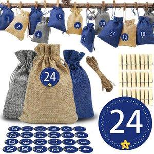 24pcs / pack Vintage Cadeau Natural Cadeau Candy Sac De Mariage Favoris Favoris Poche Anniversaire Fournitures Curstrings Jute Sac-cadeau
