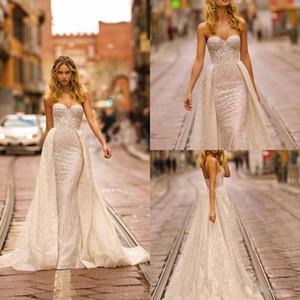 2021 Berta Luxury Mermaid Wedding Dresses With Train Strapless Crystal Beading Lace Wedding Gowns Sweep Train Vestidos De Novia