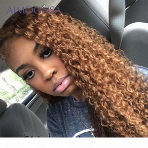 Honey Blonde Lace Front Wigs Long Kinky Curly Hair 13*6 Ombre Blonde Lace Front Wig Human Hair Wigs For Women Remy 130%