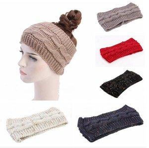 Moda Kadın Kniterd Kafa Kış Örme Tığ Kafa Isınma Katı Hip Hop hairbands Tığ Şapkalar Spor Yoga Turban FWC3717