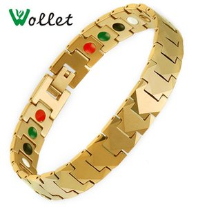 Wollet Jewelry Tungsten Bracelet Bangle for Men Gold Rose Gold Color Germanium Infrared Negative Ion Tourmaline