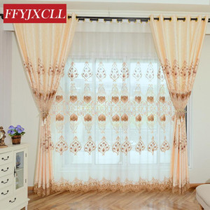 Yellow Luxury Geometric Embroidered Tulle Curtains For living Room Bedroom Curtains Window Treatment Drapes Home Decor