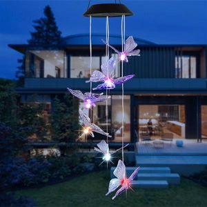 Best Seller Solar Intelligent Light Control Design Color Shell Butterfly Wind Thime Corridor Decoración Colgante Panel solar Luz colorida