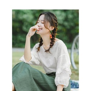INMAN Summer O-neck Literary Embroidery Loose Casual All Matched Half Sleeves Women Shirt 201202