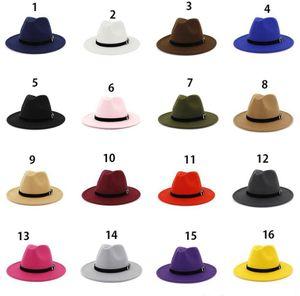 Mode Top Cap Wolle Filz Fedora Panama Hut Frauen Dame Wolle Wide Rand Casual Outdoor Jazz Cap Frau Fedora Hut 16 Farben
