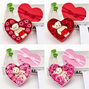 Valentines Day 10 Flowers Soap Flower Gift Rose Box Bears Bouquet Wedding Decoration Gift Festival Heart-shaped Box 17x15.5x5cm