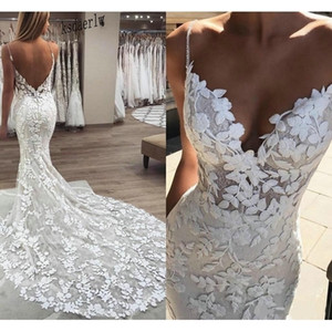 2020 Berta mermaid Wedding Dresses 3D Floral Applique Lace backless Sweep tulle Train Plus Size boho beach Bridal Gowns Robe De Q1110