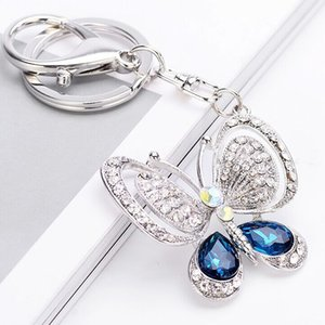 Big Rhinestone Butterfly Butterfly Bookchain Элегантный Blue Chaveiro Cute Fashion Crystal Maint Crystal Bear Ambiz Charm Подвеска Аксессуары Ключ