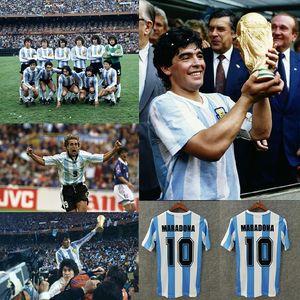 Retro 1986 Argentinien Diego Maradona Fußballtrikots Messi 1978 1994 1996 1998 2006 Riquelme Veron Zanetti Tevez Vintage Kit Classic Shirts Argentina Soccer Jerseys