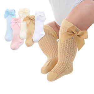 2020 Primavera Summer Kids Girls Calzini con fiocco ginocchio alto scava fuori calzini lunghi cotone principessa bambini1