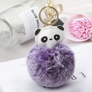 Fashion Fluffy Faux Rabbit Fur Ball Panda Keychain Women Cute Pom Pom Fur Key Ring Trinket Pompom Bag Charms Key Holder Neh863 jllPxx