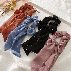 Women Hair Ties Scarf Plaid Stripe Hairbands Chiffon Long Bow Ponytail Holder Elastic Ribbon Hairbands Accessories Flower Dots BT5382