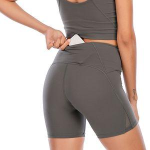 Lu Women Leggings Yoga Traje del muslo diseñador para mujer Entrenamiento de mujer Gimnasio Wear Solid Sports Elastic Fitness Lady Align Shr Short 4 Pantalones