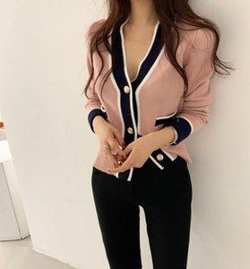 CBAFU Pink Knitted Cardigan Women V-Neck Long Sleeve Single Breasted 2020 Autumn Clothing Korean Elegant Jumpers Pockets F798
