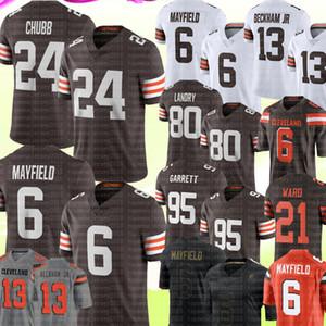 24 Nick Chubb 6 Baker Mayfield 95 Myles Garrett Jersey Odell Beckham Jr 80 Jarvis Landry 21 Denzel Ward Futebol Jerseys