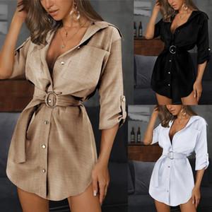 Womens Slim Sexy Shirt Dress Summer Woman Solid Color OL Belt Lapel Neck Dresses Women Fashion Casual Clothes