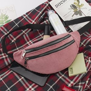 Waist Bag Female Belt corduroy new Fashion travelling Chest Handbag winter Fanny Pack Ladies Waist Pack Belly belt Bags Purse
